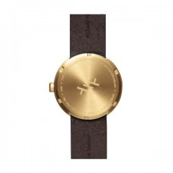 LEFF amsterdam Tube Watch D38 – Brass with brown leather strap