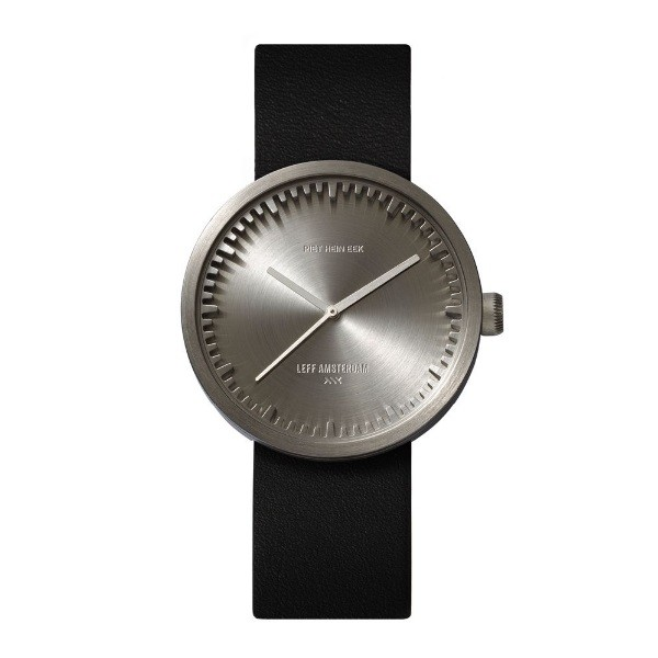 LEFF amsterdam Tube Watch D38 – Steel with black leather strap