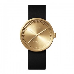 LEFF amsterdam Tube Watch D38 – Brass with black leather strap