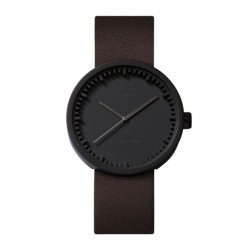 LEFF amsterdam Tube Watch D38 – Black with brown leather strap.