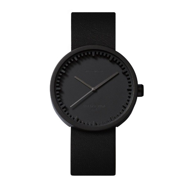 LEFF amsterdam Tube Watch D38 – Black with black leather strap