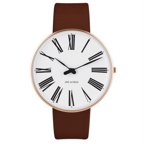 Arne Jacobsen Roman Watch White Dial, Gold Case, Brown Leather