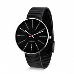Arne Jacobsen Bankers Watch Black, Black Mesh