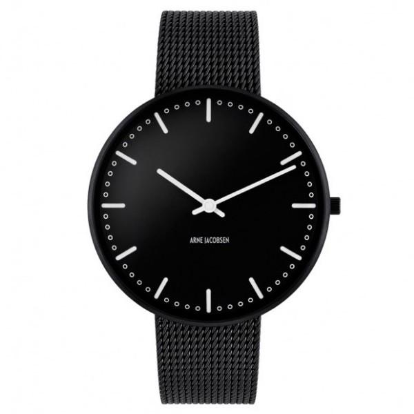Arne Jacobsen City Hall Watch black, frame, Black Mesh