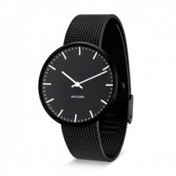 Arne Jacobsen City Hall Watch black, frame, Black Mesh