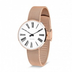 Arne Jacobsen Roman Watch Dial, Rose Gold Mesh