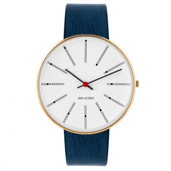 Arne Jacobsen Bankers Watch White Dial/Gold, Blue Strap