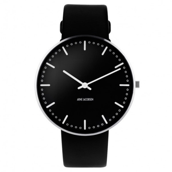 Arne Jacobsen City Hall Watch Black Dial, Black Strap