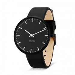 Arne Jacobsen City Hall Watch Black Dial and Frame , Black Strap