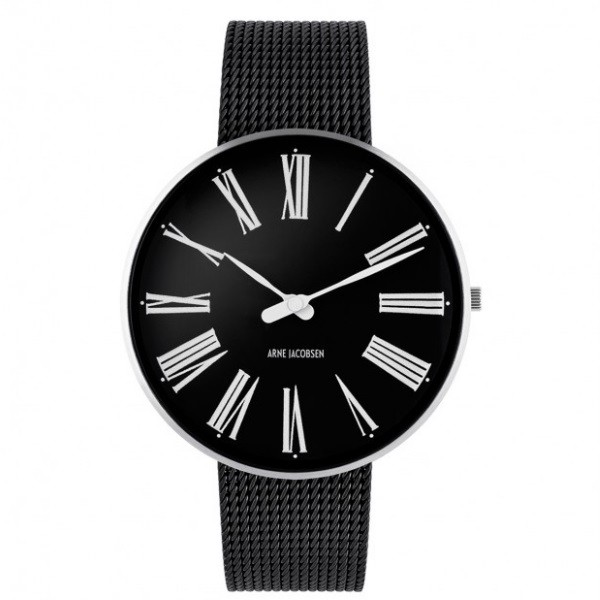 Arne Jacobsen Roman Watch Black Dial, Black Mesh