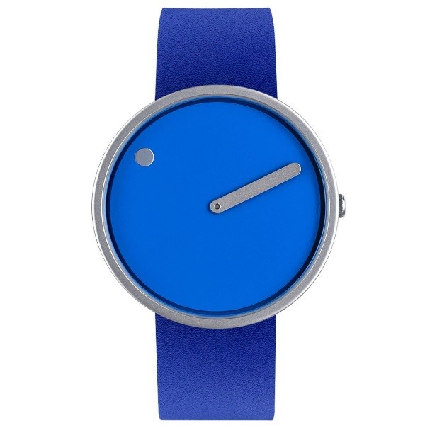 Picto Watch Blue Dial Blue Leather Strap