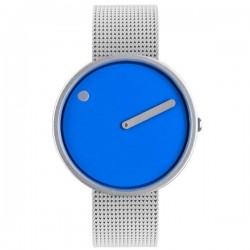 Picto Watch Cobalt Blue Dial, Steel Mesh