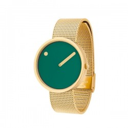 Picto Watch Dusty Green Dial,Gold Mesh
