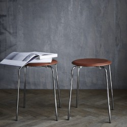 Fritz Hansen Dot Stool Wild Leather Walnut