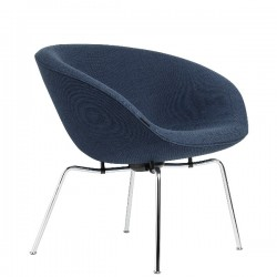 Fritz Hansen Pot Lounge Chair, fabric, chromed steel base