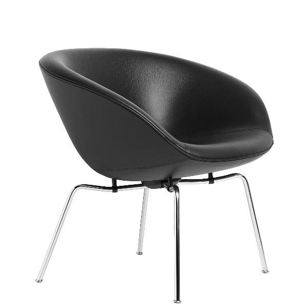 Fritz Hansen Pot Lounge Chair, leather, chromed steel base