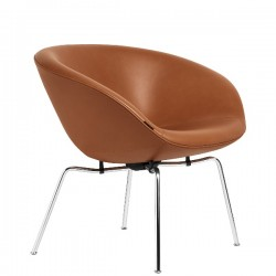 Fritz Hansen Pot Lounge Chair, leather, chromed steel base