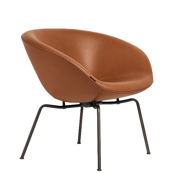 Fritz Hansen Pot Lounge Chair, leather, Dark Brown Coated Base
