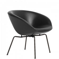 Fritz Hansen Pot Lounge Chair, leather, Dark Brown Coated Base