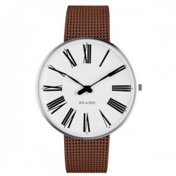 Arne Jacobsen Roman Watch White Dial, Matt Copper Mesh