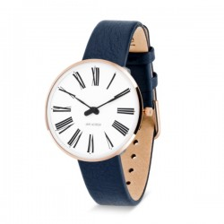 Arne Jacobsen Roman Watch Rose Gold Blue Strap
