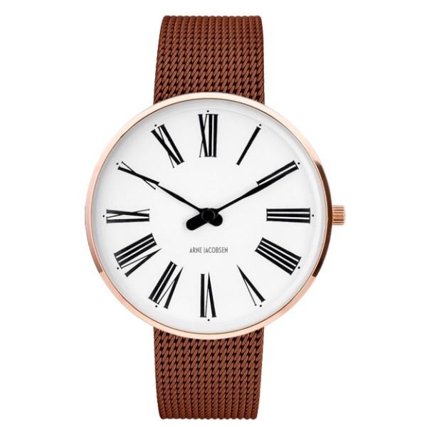 Arne Jacobsen Roman Watch White Dial, Rose Gold, Matt Copper Mesh