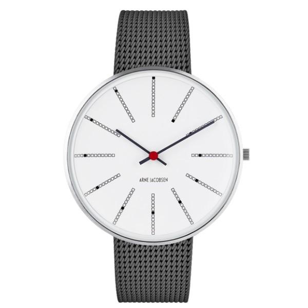 Arne Jacobsen Bankers Watch White Dial, Matt Grey Mesh