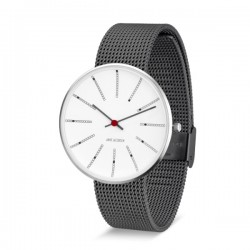 Arne Jacobsen Bankers Watch White Dial, Matt Grey Mesh