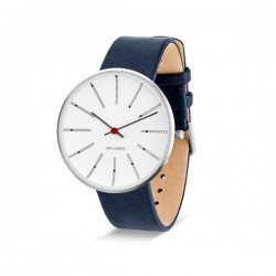 Arne Jacobsen Bankers Watch White Dial, Blue Strap