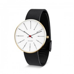 Arne Jacobsen Bankers Watch Gold Dial, Black Mesh
