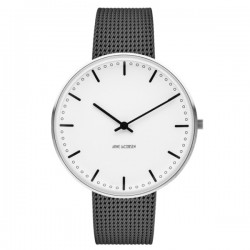 Arne Jacobsen City Hall Watch White Dial, Matt Grey Mesh