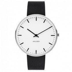 Arne Jacobsen City Hall Watch White Dial, Black Mesh