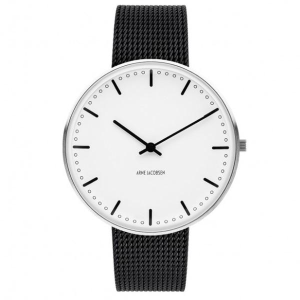 Arne Jacobsen City Hall Watch White Dial, Black Mesh