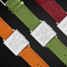 iegert & Funk QLOCKTWO  W35 Pure White French Grain Leather Green  Watch