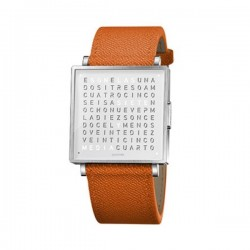Biegert & Funk QLOCKTWO  W35 Pure White French Leather Orange