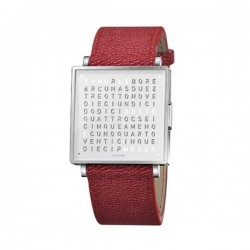 Biegert & Funk QLOCKTWO  W35 Pure White French Grain Leather Red Watc