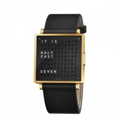 Biegert & Funk QLOCKTWO W35 Gold Black Leather Strap