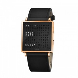 Biegert & Funk QLOCKTWO W35 Gold Black Leather Strap