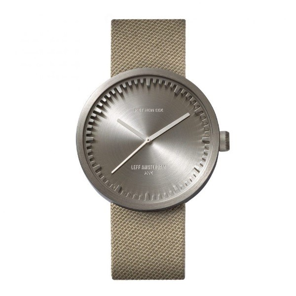 LEFF amsterdam tube watch D42 – steel with sand cordura strap