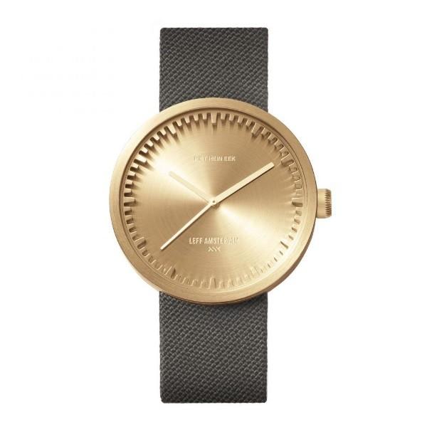 LEFF amsterdam tube watch D42 – brass with grey cordura strap