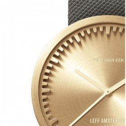 LEFF amsterdam tube watch D42 – brass with grey cordura strap