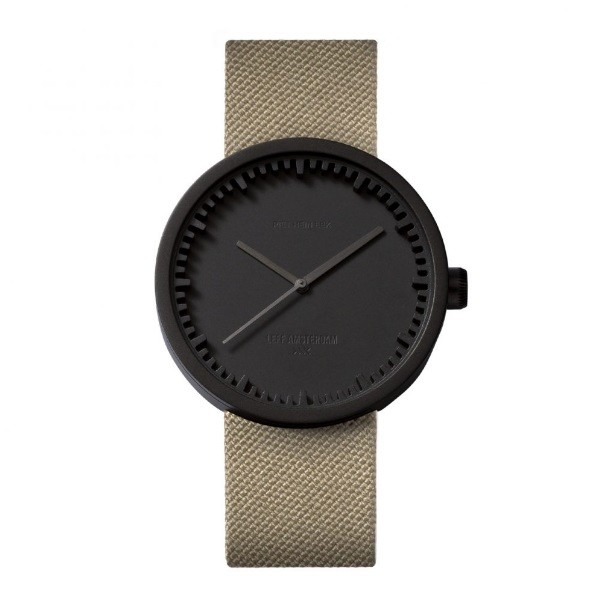 LEFF amsterdam tube watch D42 – black with sand cordura strap