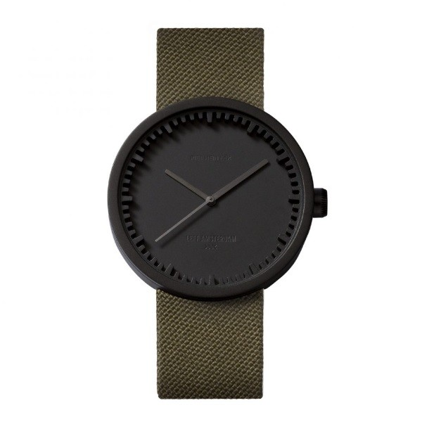 LEFF amsterdam tube watch D42 – black with green cordura strap