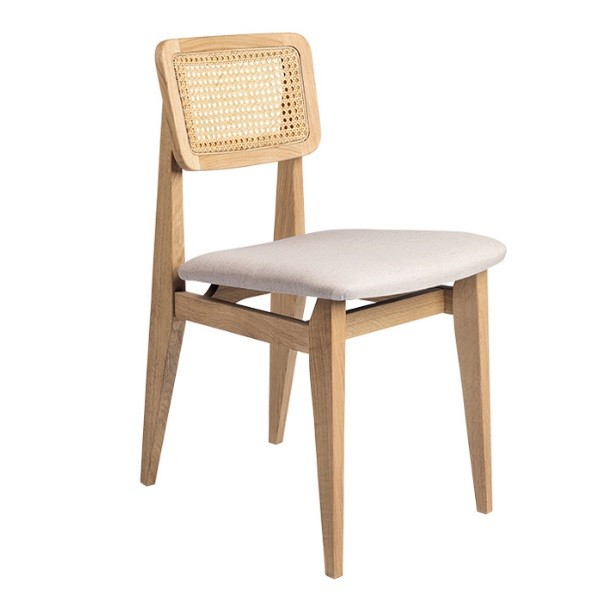Gubi C-Chair Dining Chair - Seat Upholstered, French Cane back