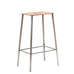 Frama Adam Stool Leather Raw Steel