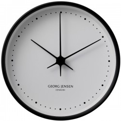 Georg Jensen Koppel Wall Clock Stainless Steel Black, White Dial