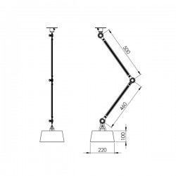 Tonone Bolt Ceiling Double Arm Underfit