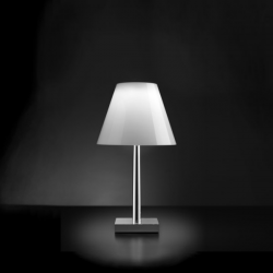 Rotaliana Dina Small Led Bedside Lamp Polished aluminium / white shade