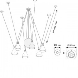 DCW Editions Les Acrobates De Gras 327 Round Shade Pendant Light