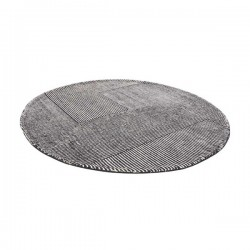 Tom Dixon Stripe Rug Round Black and White
